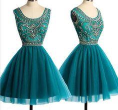 Cute Homecoming Dress,Beading Homecoming Dress,Tulle Graduation Dress,O-Neck Short Prom Dress,Short dress