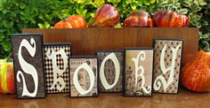 Black and White Letter Wood Block Halloween Home Decor- Spooky Halloween Home Decor, Halloween House, Halloween Letters, White Letters, Wood Blocks, Lettering, Black And White, Unique Jewelry, Handmade Gifts