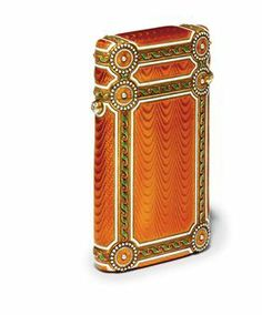 A Jewelled Gold-Mounted Guilloché Enamel Cigarette-Case by Fabergé, workmaster Michael Perchin, St Petersburg, circa 1890. Rectangular of oval section, enamelled with panels of translucent orange over a wavy guilloché ground, applied with gold bands, with stylized leaf and berry, bright-cut and white enamel borders, with roundels at the corners, centering a seed-pearl within white enamel pellet border, hinged cover with a rose-cut diamond push-piece. Provenance: Lady Arthur Paget.