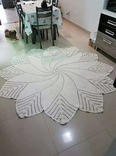Crochet rug crochet carpet doily lace rug by eMDesignBoutique how to crochet shawl 1 This Pin was discovered by Moz Gorgeous Doesnt Look Like Patterns Crochet May The Miracle Oval Ma Rugs ndi crocheted: Maganizo a 25 + malingaliro opanga zinthu Crochet Doily Rug, Crochet Doily Diagram, Crochet Rug Patterns, Crochet Carpet, Crochet Dollies, Crochet Doily Patterns, Crochet Round, Knitting Patterns, Crochet Decoration