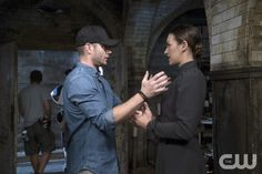 """Supernatural -- """"The Bad Seed"""" -- Image SN1101A_0308.jpg -- Pictured (L-R): Behind the scenes with Director Jensen Ackles and Tasya Teles -- Photo: Katie Yu /The CW -- © 2015 The CW Network, LLC. All Rights Reserved.pn"""