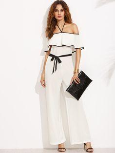online store 759e0 a796d Black and White Halter Ruffle Tie Waist Jumpsuit   MakeMeChic.COM