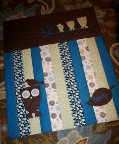 The Owl's Nest TM Quilted Crib Blanket Add by toddlerswaddler, $135.00