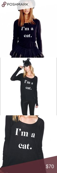 "Wildfox Guess What I am cat Cozy Raglan size S NWT Wildfox Couture Guess What I Am Cozy Raglan long sleeve tee. This awesome raglan is super soft and drapes all over yer curves perfectly with the softest fabric available. Featurin' a graphic that says, ""I'M A CAT"" right across yer shirt there really is no mistaking exactly what are you dressin' up as!   Materials: 47% Rayon, 47% Polyester, 6% Spandex Machine Washable Wildfox Couture Tops Tees - Long Sleeve"