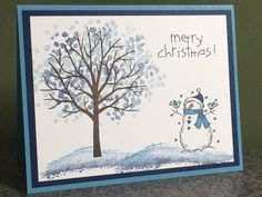 Stampin' Up! Handmade Christmas Card Snowman Combined Shipping