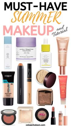 Summer Makeup Must Haves and Tutorial Sommer Make-up Must-Haves und Make-up Tutorial Sommer Make-up Looks, Sommer Make Up, Makeup Bag Essentials, Beauty Essentials, Beauty Hacks, Makeup Must Haves, Makeup To Buy, Makeup You Need To Have, Cheap Makeup