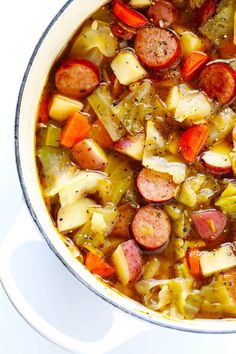 This Cabbage Sausage and Potato Soup recipe is hearty and comforting easy to make and so savory and delicious My kind of cabbage soup GlutenFree DairyFree