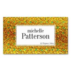 Gold & Green Glitter Appointment Business Cards