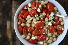 chickpea tomato salad with feta and herbs