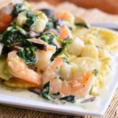 Ravioli with Seafood, Spinach & Mushrooms in Garlic Cream Sauce - Will Cook For Smiles