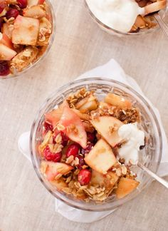 Apple cranberry crisp is a delightfully light and simple dessert that is full of fall produce. It also makes a delicious breakfast with yogurt!