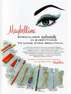 Vintage Maybelline -- my mom had most of these items on her dresser. Especially the cake mascara!Vintage Maybelline -- my mom had most of these items on her dresser. Especially the cake mascara! 1950s Makeup, Vintage Makeup Ads, Vintage Beauty, Vintage Ads, Vintage Posters, Vintage Vanity, Vintage Perfume, Makeup Advertisement, Retro Advertising