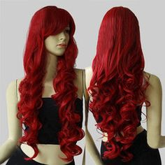 £15.99 for 32 in. Long Big Spiral Curl Dark Red Cosplay Wig | DrGrab UK