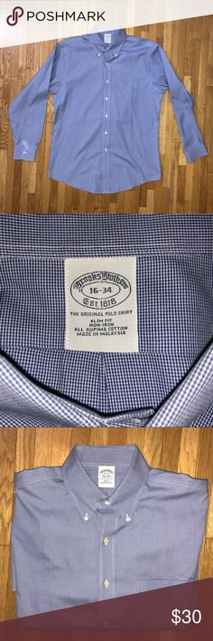 Brooks Brothers Men's Non-Iron Dress Shirt Size 16 NWOT neck size 16 slim fit Brooks Brothers Shirts Dress Shirts