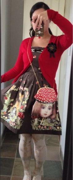 honey-cruller: Sunday Errands… Cardigan: Zara Dress: Emily Temple Cute Bag: Ahcahcum Muchacha OTK: Innocent World Brooch: Moss Badger With brown mary janes!