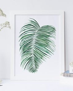 Fern print in watercolor, instant download for easy printing at home or on line.