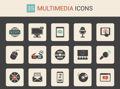 Free Download : 35 Multimedia Icon Set (exclusive) | Designbeep