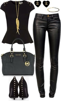 21 sexy leather looks (for winter) black and gold outfit, black gold, Outfits Leggins, Komplette Outfits, Fashion Outfits, Womens Fashion, Vegas Outfits, Woman Outfits, Club Outfits, Fashion 2017, Mode Style