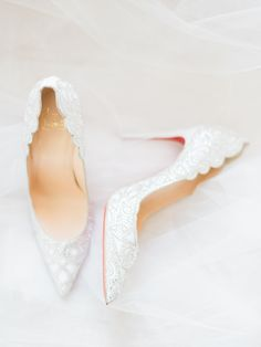 Louboutin beaded wedding heels: Photography: Ether & Smith - www.etherandsmith.com   Read More on SMP: http://www.stylemepretty.com/2016/08/24/white-color-palette-jamaica-destination-wedding/