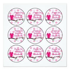 Cupcake Birthday Invitations Pink Owl 1st Birthday Cupcake Toppers Card