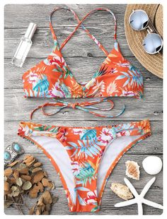 0b65e063c13 Tropical Print Strappy Bikini Set (Orange) Crop Top Bikini, Strappy Bikini  Top,