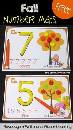 FREE Fall Number Mats - These super cute printables are perfect for Preschool, Prek, and Kindergarten age kids to practice counting, making numbers with playdough, and writing numbers. Kindergarten Centers, Preschool Learning, Kindergarten Classroom, Classroom Activities, Preschool Crafts, Toddler Preschool, Numbers Kindergarten, Montessori Elementary, Montessori Preschool