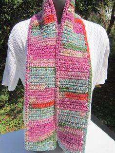 Cotton Candy Crocheted Scarf by crochetedbycharlene on Etsy