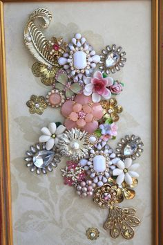 Custom Create A Jewelry Art Collage Framed Memory Vintage Keepsake Custom Assemblage Home Decor Rhinestone Brooch Wall Nursery Antique OOAK - Diy Jewelry Easy Costume Jewelry Crafts, Vintage Jewelry Crafts, Antique Jewelry, Antique Art, Costume Necklaces, Jewelry Frames, Jewelry Tree, Diy Jewelry, Fashion Jewelry