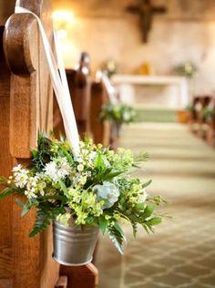 Cheap Wedding Flowers Can Still Be Beautiful Church Wedding Decorations Rustic, Country Church Weddings, Rustic Church Wedding, Pew Decorations, Wedding Pews, Beach Wedding Reception, Wedding Bouquets, Cheap Wedding Flowers, Floral Wedding