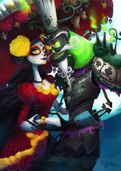 La Muerte and Xibalba by Stacheous The book of life movie Cute Disney, Disney Art, Sugar Skull Artwork, Sugar Skulls, Book Of Life Movie, Day Of The Dead Art, Disney Kunst, Mexican Art, Disney And Dreamworks