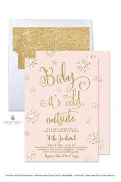 Baby It's Cold Outside Invitation Winter Baby Shower Invitation Girl Baby Shower Invitation Pink and Gold Baby Shower Girl Winter - Mila style by Digibuddha