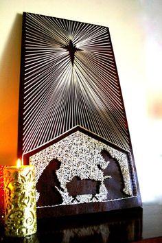 Mangiatoia di Natale stringa Art   Natale String Art   Scena di Natività   Award Winning pezzo  