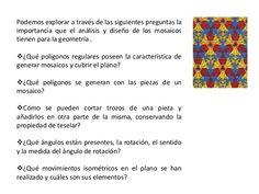 Los polígonos regulares que pueden teselar el plano son tres: Triángulo equilátero Cuadrado Hexágono regular Existen ta...