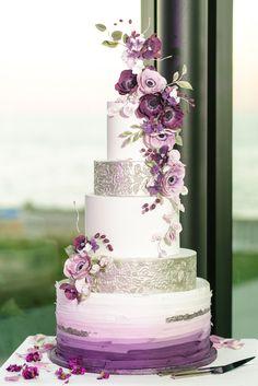 7 Exceptional Purple Color Combos to Rock for and ruffle diy wedding cake with purple flowers decors, purple and gold spring fall or winter wedding color palettes, Wedding Cake Fresh Flowers, Purple Wedding Cakes, Wedding Cake Rustic, Fall Wedding Cakes, Elegant Wedding Cakes, Beautiful Wedding Cakes, Wedding Cake Designs, Elegant Cakes, Color Lila Pastel