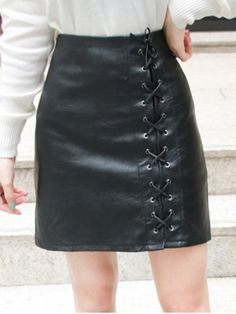 Lace Up Faux Leather Skirt | Psychedelic Monk
