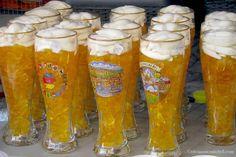Bier glasses overflowing with gummy bears, Heidelberg, Germany.