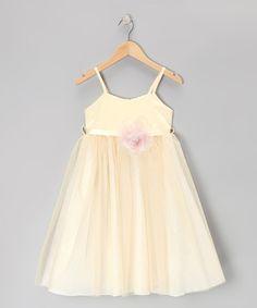 Loving this Light Gold Glitter Flower Babydoll Dress - Toddler & Girls on #zulily! #zulilyfinds