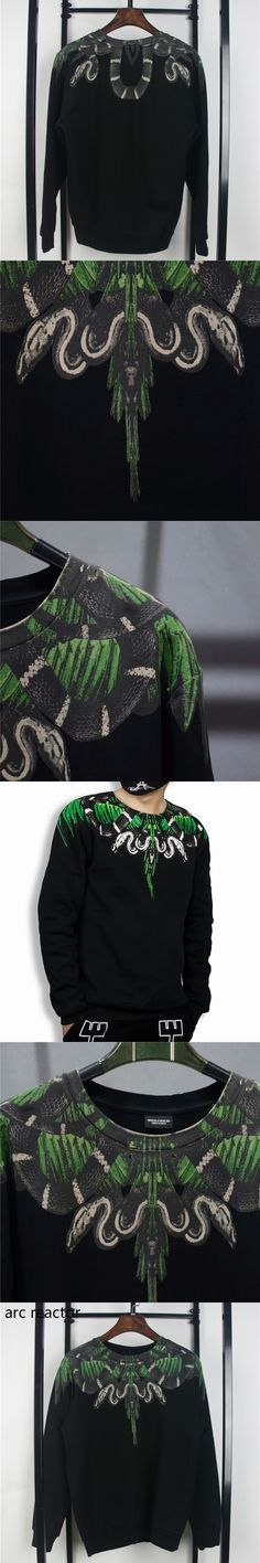 Marcelo Burlon Hoodies Men High Quality Italy County Mila MB Green Snake Sweatshirt Fashion RODEO MAGAZIN Marcelo Burlon Hoodies