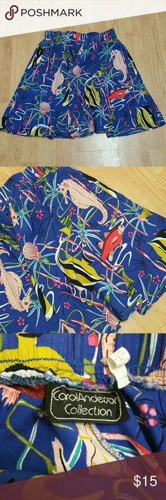Tropical Skirt Super fun snorkel/scuba inspired skirt. Elastic waist smallest 27-28 inc., stretches to 38 inc. Fantastic vintage piece, excellent condition! Carol Anderson Collection  Skirts Circle & Skater