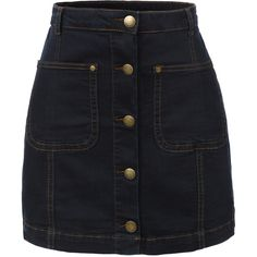 LE3NO Womens Vintage Denim A-Line Button Down Mini Skirt (1,150 PHP) ❤ liked on Polyvore featuring skirts, mini skirts, bottoms, faldas, button front skirt, a line mini skirt, mini skirt, denim miniskirt and short skirts