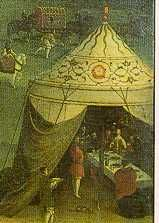 Tent from the painting The Field of the Cloth of Gold, ca 1545. Greydragon makes the argument that there had to be an internal support structure based on the assumtion of naturalism.  https://en.wikipedia.org/wiki/Field_of_the_Cloth_of_Gold