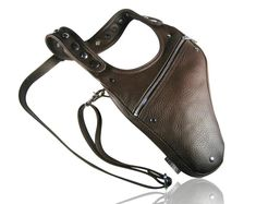 Leather shoulder holster bag / holster bag Made in FRANCE Sacoche Holster, Bronze, Leather Skin, Left Handed, You Bag, Bag Making, How To Make, How To Wear, Two By Two