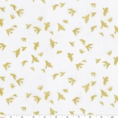 White and Gold Bird Print Fabric by Carousel Designs.