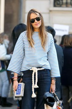 Carlotta Oddi black and white striped street style nyc