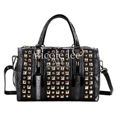 JENNA PYRAMID STUD BOSTON BAG in black  http://nicoleleeonline.com/handbag-new-arrivals/p2888-jenna.html