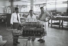 "vintageclassiccars: "" At the Lamborghini factory 1960:s - Fine-tuning under supervision of testdriver Bob Wallace. """