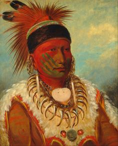 George Catlin - The White Cloud, Head Chief of the Iowas -1844-1845.