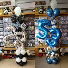 Balloon Centerpieces, Balloon Decorations Party, Balloon Garland, Birthday Party Decorations, 30th Birthday Balloons, 30th Birthday Parties, Balloon Shop, Balloon Display, Number Balloons