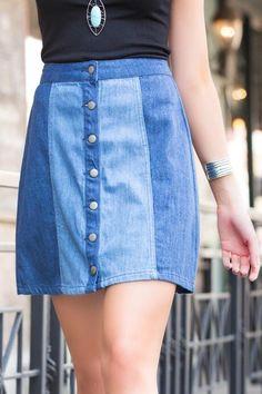 Arlo Button Front Denim Skirt