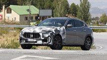 Maserati Spied Testing Levante GTS Possibly With Biturbo V8 :  New spy shots reveal Maserati evaluating a Levante with a revised front and rear plus sensors on the body. The most likely identity for this mysterious model is the previously rumored high-performance Levante GTS trim.  Compared to the current Levante S this model features a revised front fascia with vertical intakes ahead of the wheels. The camouflage hides other major tweaks though. The fog lights arent visible on this vehicle…